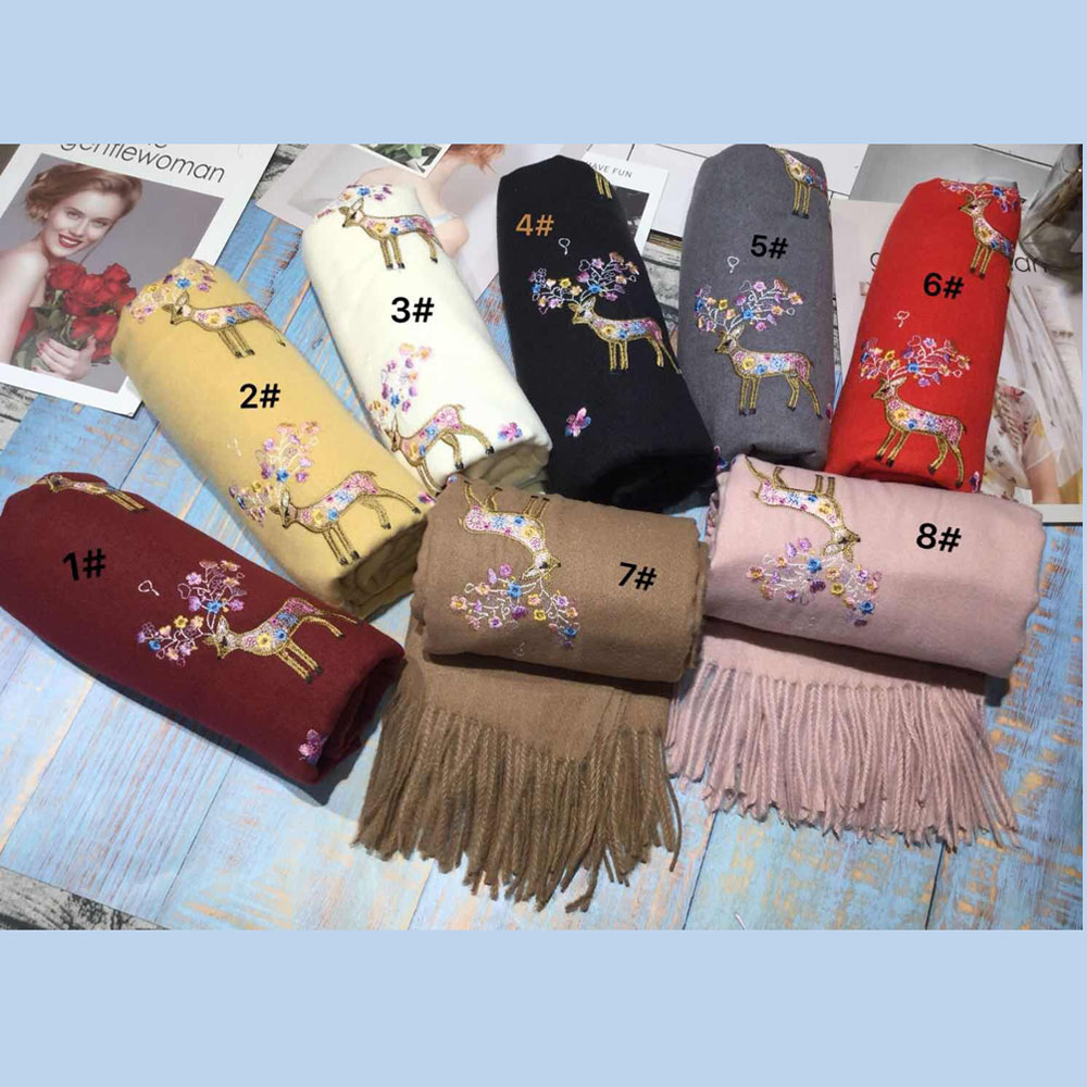 Luxury Brand Winter Scarf Women Warm Cashmere Sika Deer Embroidery Scarves Thick Shawl Wrap Blanket Hijab Scarf Christmas Scarf