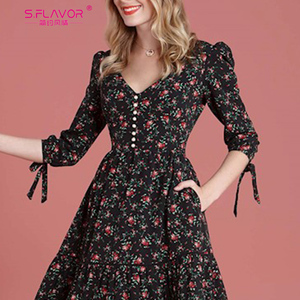 Image 4 - S.FLAVOR Women Vintage Boho Floral Printed Dress 2020 Summer Three Quarter Sleeve V Neck Party Dress Elegant A Line Dress