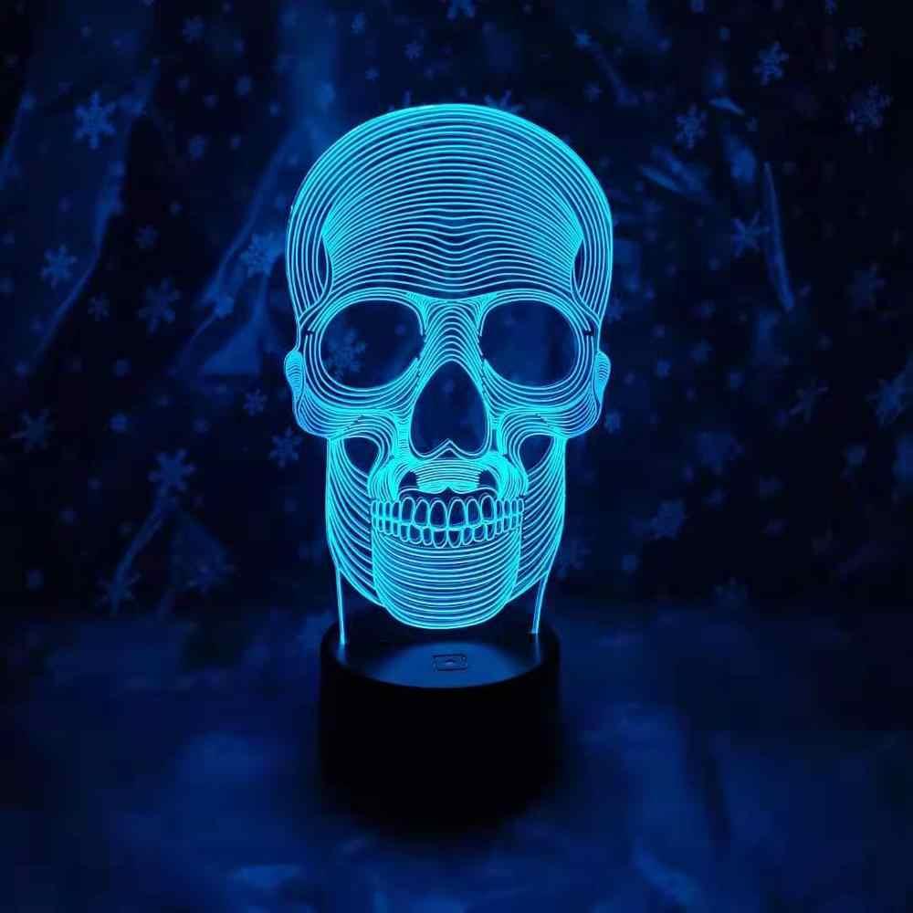 3D светодиодный 7 цветов ночник 3d лампа светящийся череп акриловая иллюзия Bluetooth