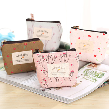 цена на Cute small canvas flower purse zip retro mini coin change purse key pouch little money bag lady new mini coin wallet storage bag