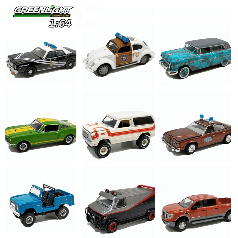 1:64 Greenlight Dodge Ramcharger  PONTIAC CHEVY Shelby GT350 Ford Nissan The A Team GMC Vandura Diecast Model Car