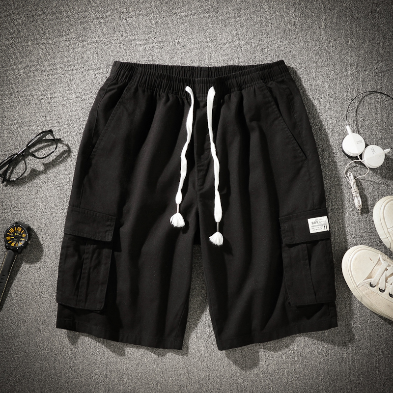 2020 New Men's Fashion All-match Lace Up Shorts Solid Knee Shorts  823