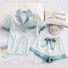 Cute Womens Pajamas Sleepwear Two Piece Set Silk Pijama Sati