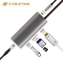 Usb концентратор cabletime Тип c на hdmi sd usb30 сетевой адаптер