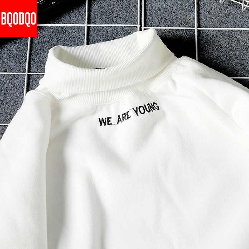 Polar kış siyah Hoodies tişörtü erkekler balıkçı yaka eşofman Streetwear Casual Hooodie japon erkek Hip Hop japonya tarzı 5XL