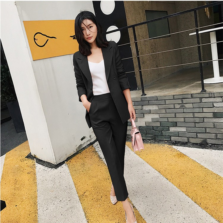 Nice Autumn Blazer Ankle-Length Pants Set Solid Two Pieces Suits Safari Style Women Elegant Notched Collar Outfits Pant Set