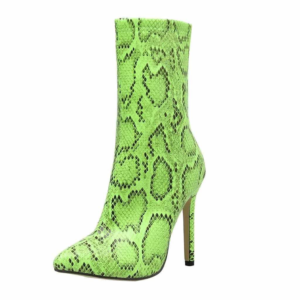 SAGACE Chelsea çizme kadın yılan derisi sivri burun buzağı yan fermuar topuk seksi kısa çizmeler ince topuk kadın botları