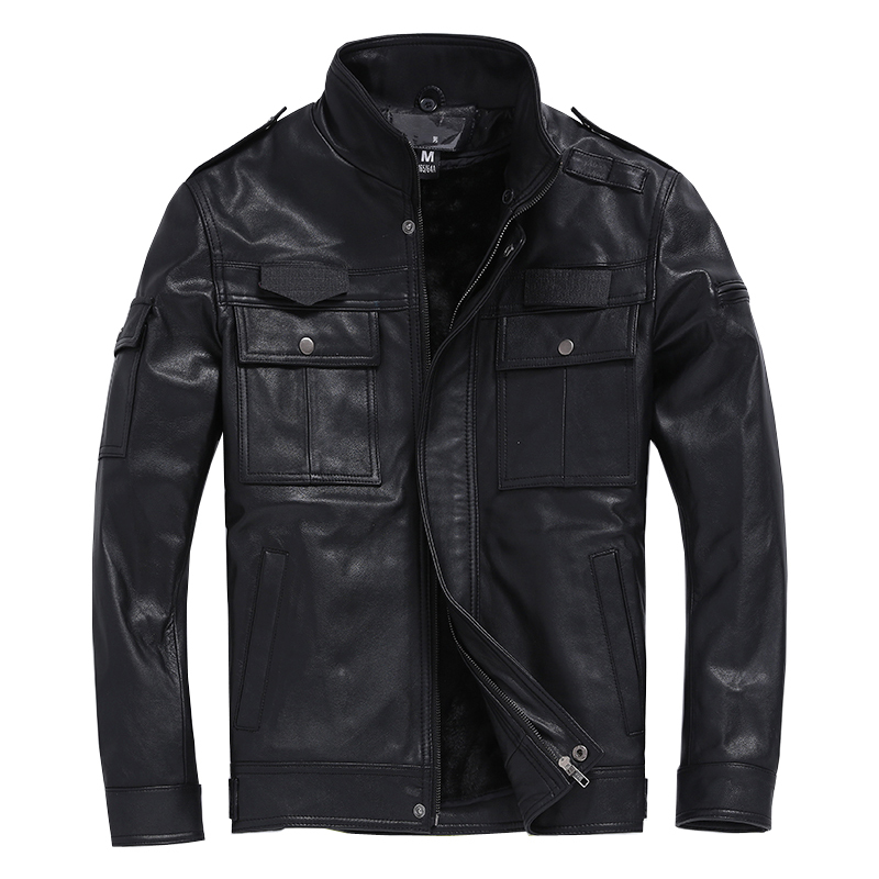 Free Shipping.Plus Size Brand Classic Men Goatskin Slim Jacket,men's Motor Genuine Leather Safari Style Jacket.sales Detachable