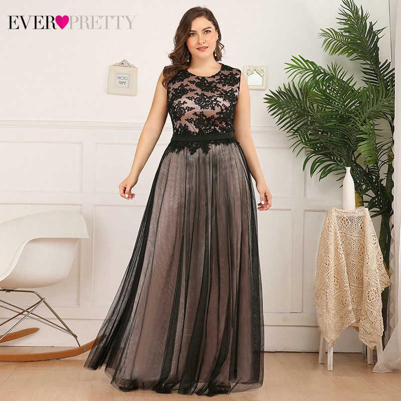 Plus rozmiar koronkowe suknie wieczorowe długie kiedykolwiek ładny-line O-Neck bez rękawów aplikacje Tulle formalne sukienki na przyjęcie Robe De Soiree 2020