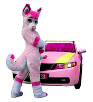 Long Fur Fursuit Wolf Fox Pink Husky Dog Mascot Costume Suit Adult Cosplay Party Game Dress With Fan Halloween Decorations 2019