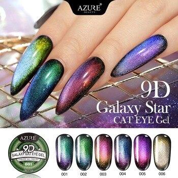 AZURE BEAUTY 9D Galaxy Cat Eyes Led Gel Nail Polish Chameleon Magnetic UV Nail Varnish Nail Art Shiny Gel Need Black Base Coat