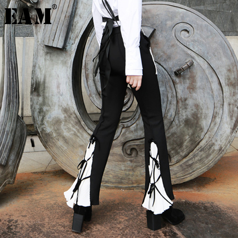[EAM] High Waist Back Pleated Bandage Long Flare Trousers New Loose Fit Pants Women Fashion Tide Spring Autumn 2020 1H013