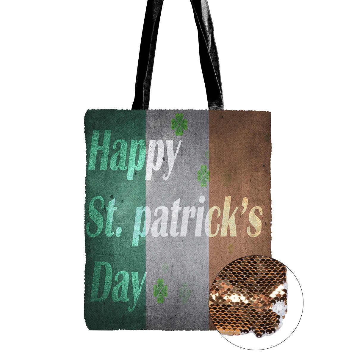 Gelukkig St Patricks Day Klaver Ierland Muur Patroon Enkele Schoudertas Flip Pailletten Voor Vrouwen Reizen Ongedwongen Party Boek Tas
