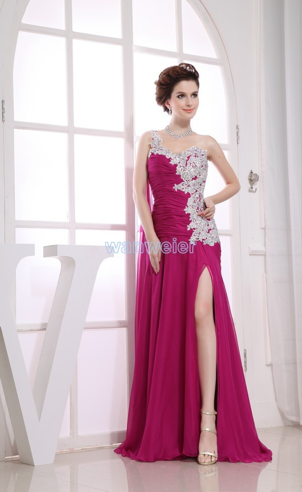 Free Shipping Vestidos Formales 2018 New Arrived Sexy One Shoulder Lace Purple Chiffon Maid Maxi Long Prom Bridesmaid Dresses