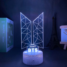 Night Light Bangtan Boys Groups KPOP Star LOGO TOP Group A.R.M.Y 3D Lamp For Fans Gifts Kids Bedroom