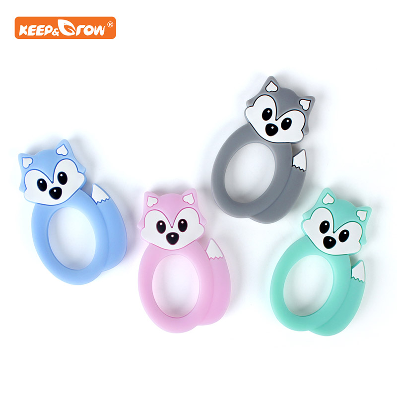 Keep&grow Fox Silicone Teethers Food Grade Animal Baby Teething Gift Chewing Toddler Toys Rodent Accessories