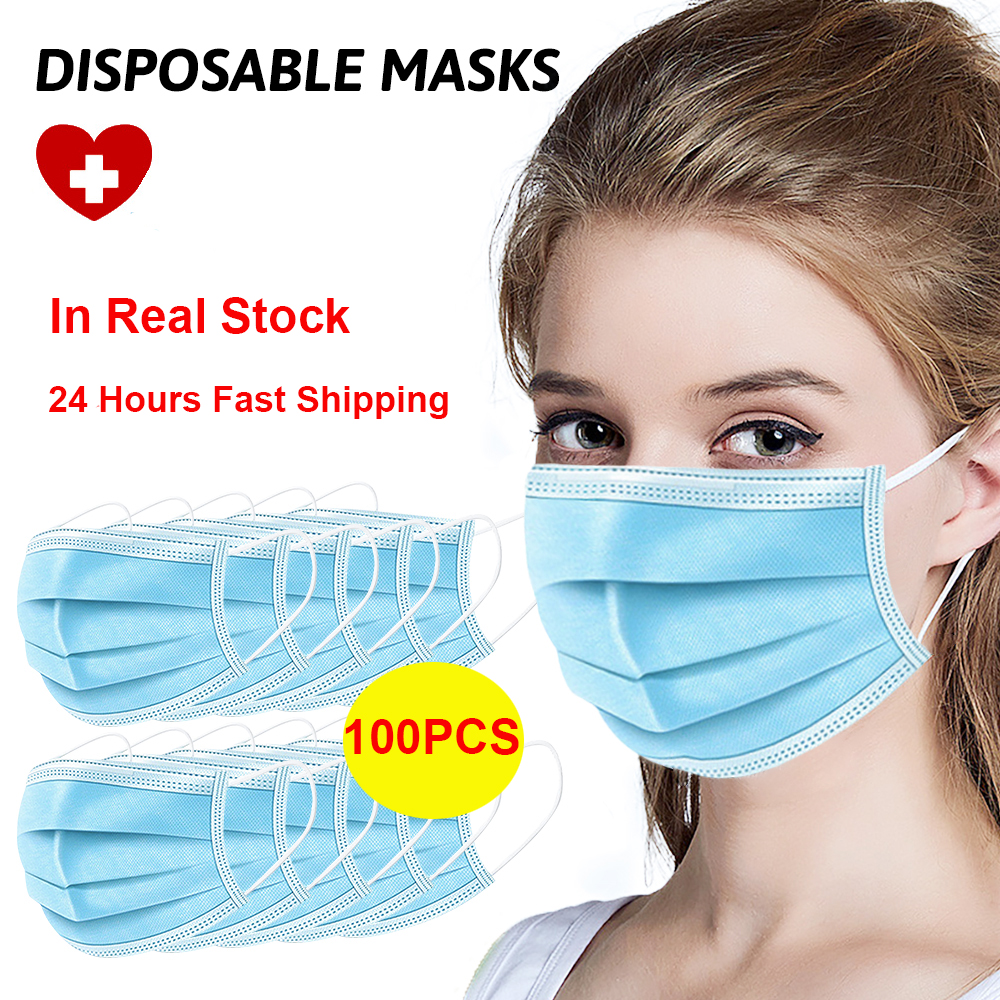 100Pcs/Lot Disposable Masks 3-layer Non-Woven Anti Virus Dust Mouth Professional Masks Protection Soft Protective Masks In Stock