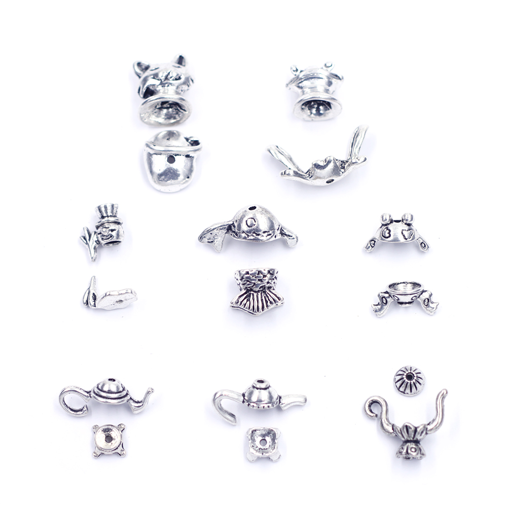 End Bead Caps For Jewelry Making Findings Frog Teapot Snowman Cat Fish Gold Silver Tone Zinc Metal Bracelet DIY Accessories