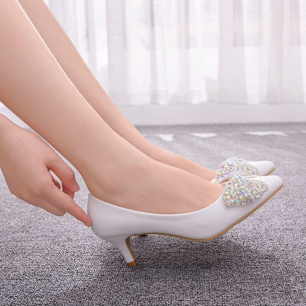 Crystal Queen Wedding Shoes Female Drill Rhinestone Crystal Bow Shoes Stiletto Pointed Bridal Pumps Fashion High Heels Big Size