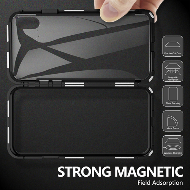 Magnetic Adsorption Metal Case For iPhone SE 2020 11 Pro Max Tempered Glass Back Case For iPhone XS Max XR X 8 7 6S 6 Plus Cover 5
