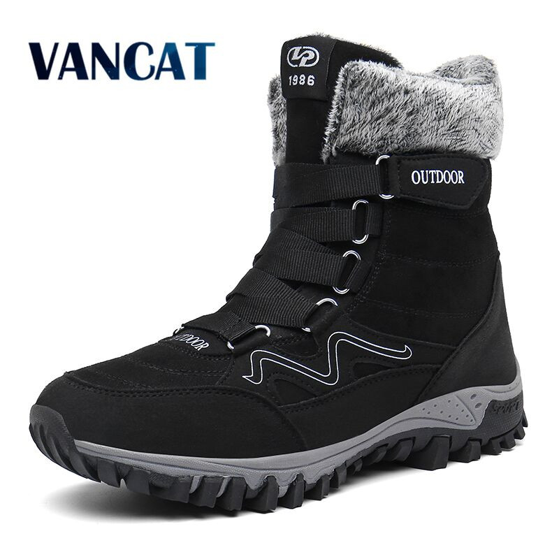 New Winter Men's Boots Plush Warm Ankle Boots Waterproof Leather Snow Boots Outdoor Desert Boots Military Boot Big Size 39-46