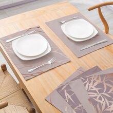 Geometrische Tischsets Polyester Leinen Geschirr Matte Rosa Gold für Tisch Wasserdichte Pad Coaster Moderne Home Küche Decor 30*40cm