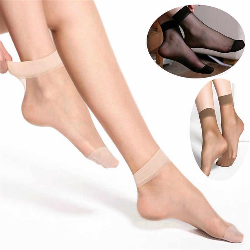 10 ペアの女性のナイロン弾性ショート足首薄手のシルクショートソックス弾性ショート足首薄手ケバケバシャイニーシルクショート靴下