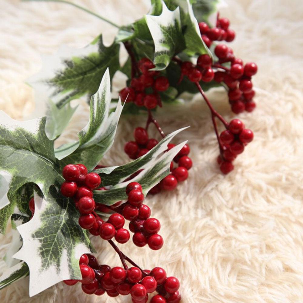 Albero di natale Artificiale Bacca Rossa Frutta Pianta Bacche Fiore Artificiale Rosso Ciliegia Decorativa Di Natale Rami di Fiori - 3