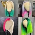 Ombre Grau Rosa Menschliches Haar Perücken Für Frauen Grüne Farbe Kurze Bob Perücke Brasilianische Remy Blonde Spitze Vorne Perücke Bob spitze Schließung Perücke