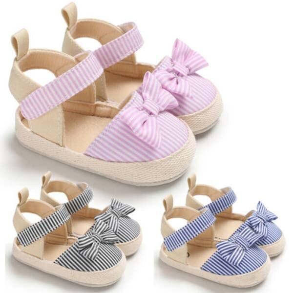 Newborn Baby Girl 0-18M Crib Shoes Infant Anti-slip Soft Sole Sneaker Princess Sandal