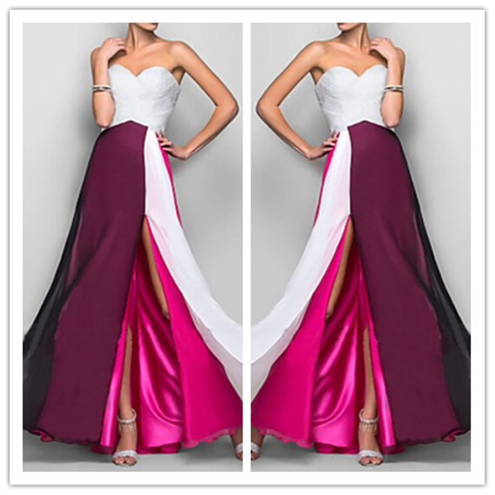New Hot Slit Sweetheart Long Burgundy Vestido De Festa Longo Gorgeous Party Prom Gown Fast Shipping Mother Of The Bride Dresses