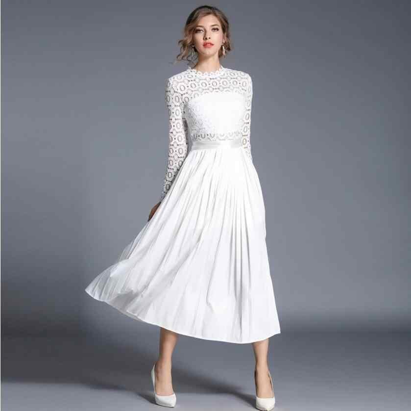 2019 נשים שמלת תחרה שמלת פרחוני נשף שמלות צווארון עומד סקסי Slim אלגנטי גבירותיי ערב מסיבת שמלות נקבה vestidos AW681