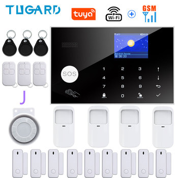 Tugard Tuya Wifi Gsm Home Burglar Security Alarm System 433MHz Apps Control LCD Touch Keyboard 11 Languages Wireless Alarm Kit 11