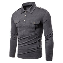 T-shirt Mens Cotton Long-sleeved Solid Color Tops and Military Uniform