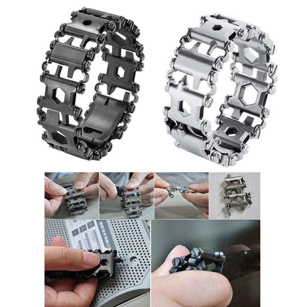 29 In 1 Multi Tool Bracelet Tread Bracelet Stainless Steel Outdoor Bolt Driver Tools Kit Travel Wearable Camping Emergency Kit