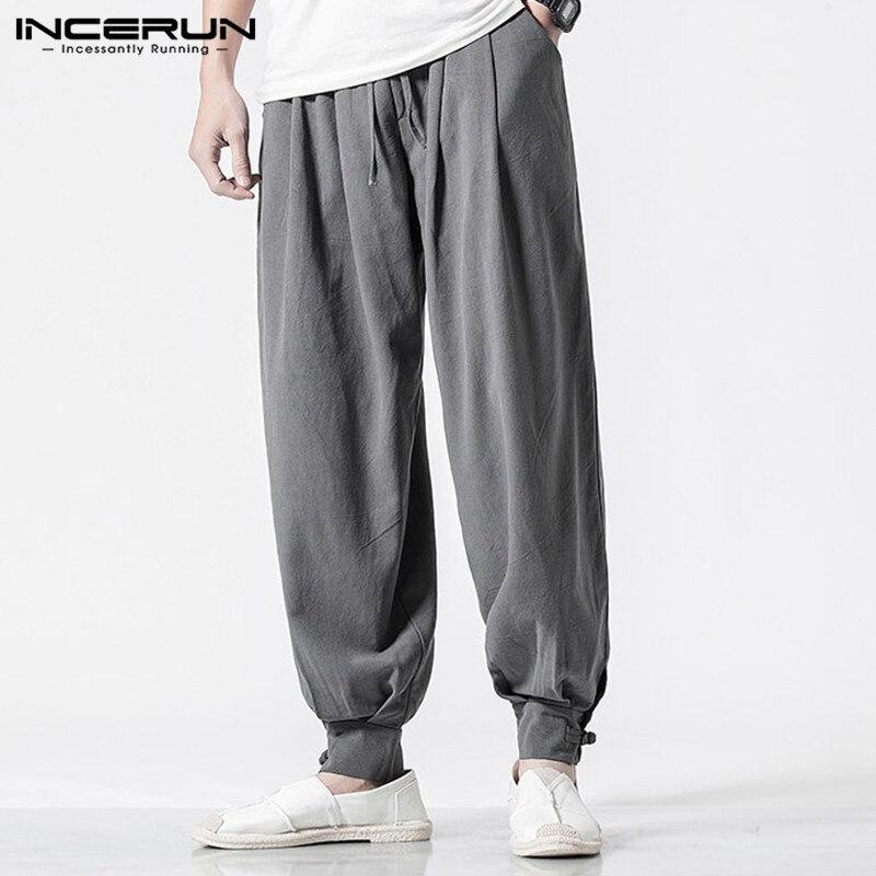 INCERUN Men Harem Pants Retro Solid Color Cotton Linen Casual Joggers Loose Sweatpants Elastic Waist Vintage Trousers Men 2020