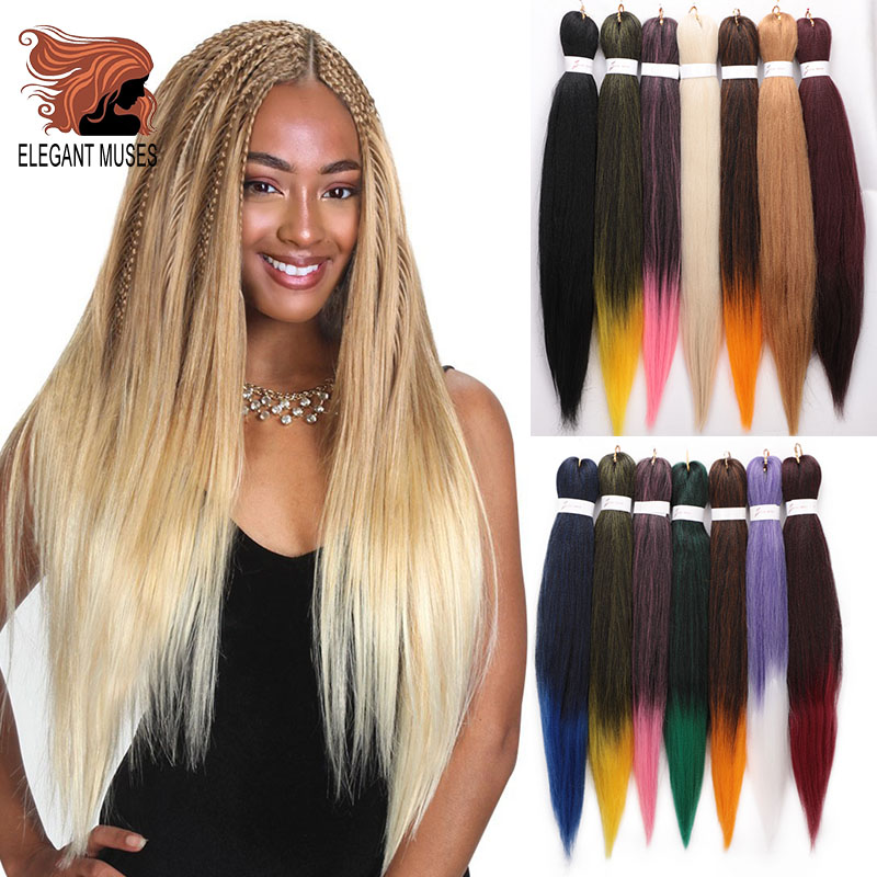ELEGANT MUSES Pre Stretched Professional EZ Braiding Hair Perm Yaki Jumbo Braids Soft Synthetic Hair Hot Water Easy Braid