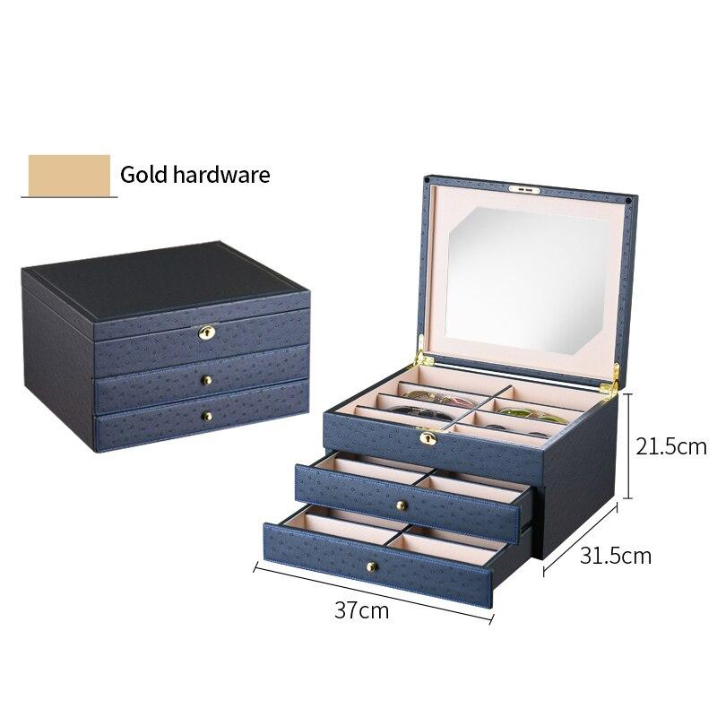 Роскошная коробка для очков 24 солнцезащитные очки коробки для хранения для очков Органайзер витрины для ювелирных украшений высококачественная искусственная кожа - Цвет: Deep Blue w Gold