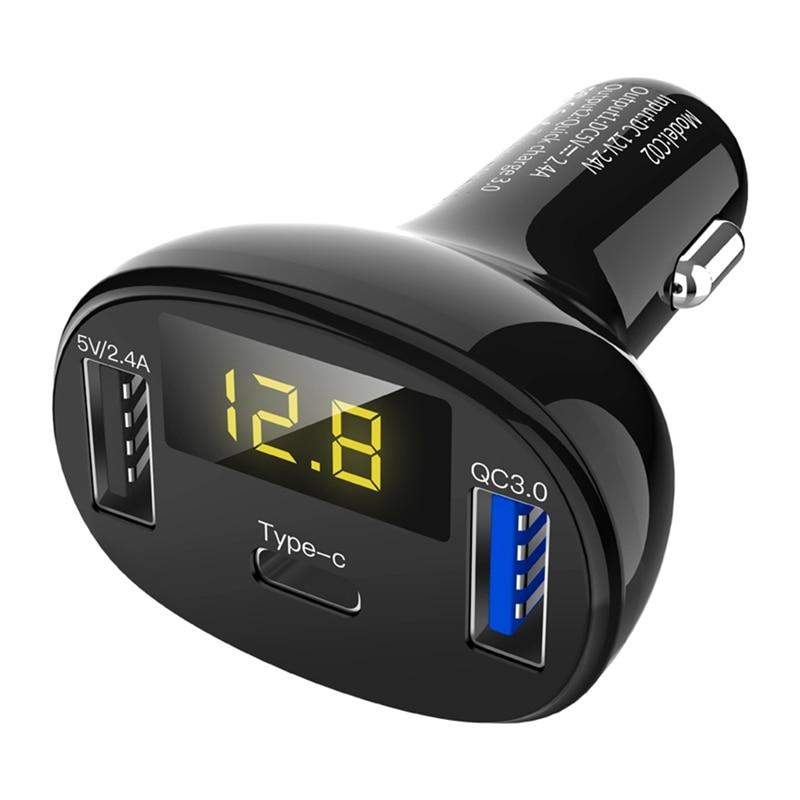 Tüketici Elektroniği'ten Şarj Cihazları'de Tip C + Qc3.0 araba şarjı hızlı şarj 3.0 araba çift Usb ve tip C radyo modülatör araç kiti