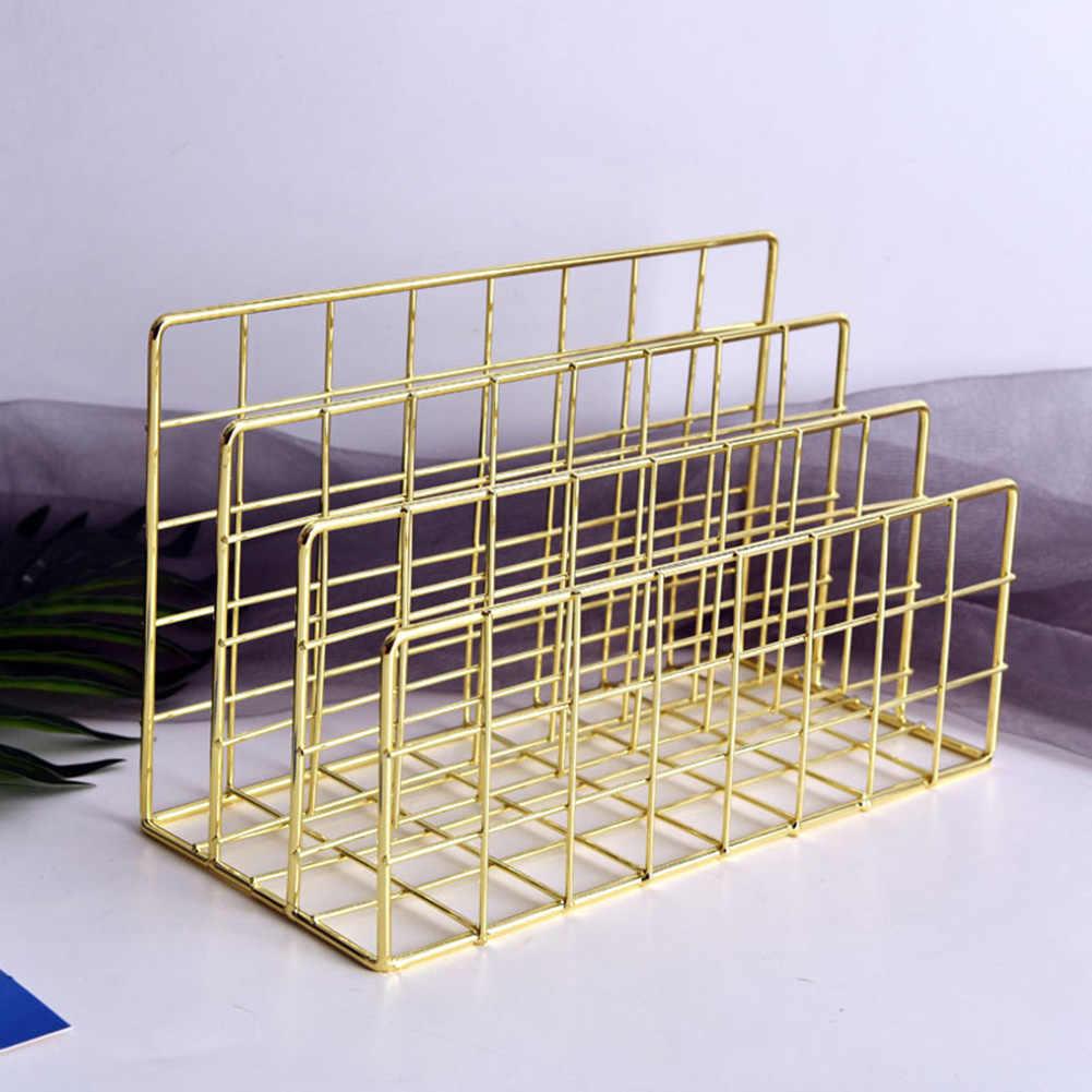 3-שכבה ברזל אחסון מדף עלה זהב Stand הולו נייר מכתב בעל קובץ מסמך משרד שולחן ארגונית organizador escritorio