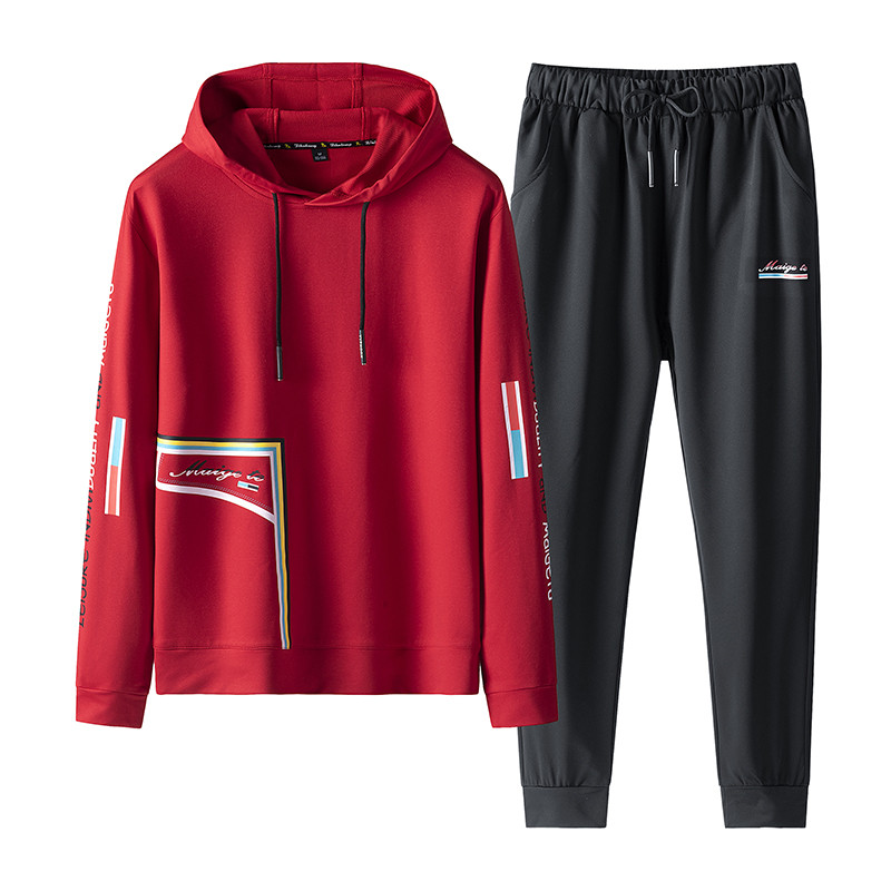 Men's Sportswear Sets 2019 Spring Autumn Hooded Male Casual Tracksuit Men 2 Piece Sweatshirt + Sweatpants Set