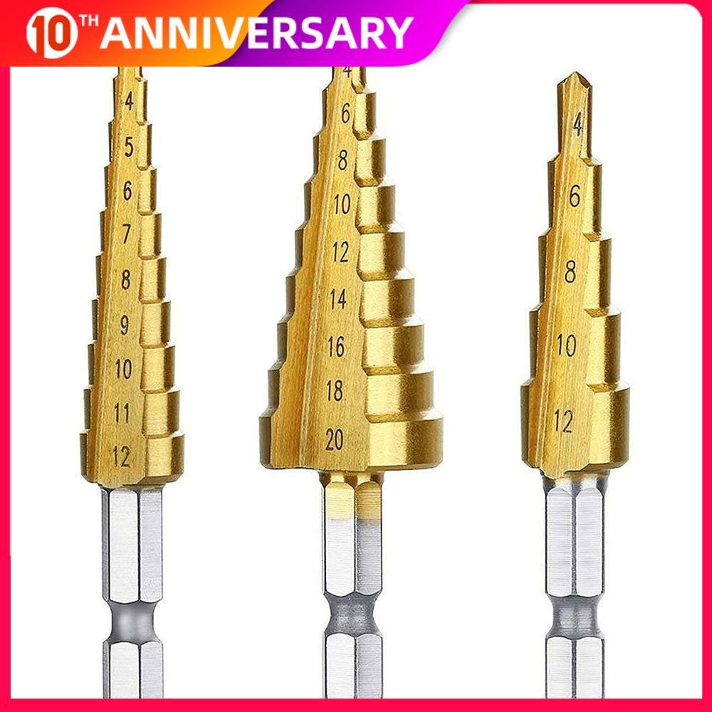 3Pcs Titanium-plate High-Speed Steel Step Drill Bit Set Drill Bits Set For Sheet Metal Hole Drilling 4-12mm 4-20mm 4-32mm 3-12mm