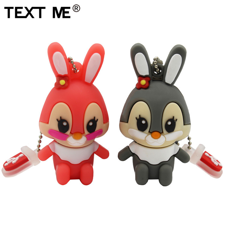 TEXT ME 64GB Usb Flash Drive Usb 2.0 4GB 8GB 16GB 32GB  Pendrive Cute Gray Pink Model Rabbit Cartoon Usb