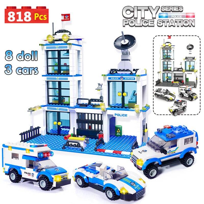 818pcs City Police Station SWAT Car Building Blocks Compatible  City Police Bricks Boy Friends Toys For Children GB27