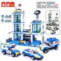 818pcs cidade polícia estação swat carro blocos de construção compatível legoinglys cidade polícia tijolos menino amigos brinquedos para crianças gb27