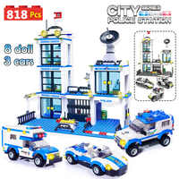 818pcs City Police Station SWAT Car Building Blocks Compatible Legoinglys City Police Bricks Boy Friends Toys for Children GB27