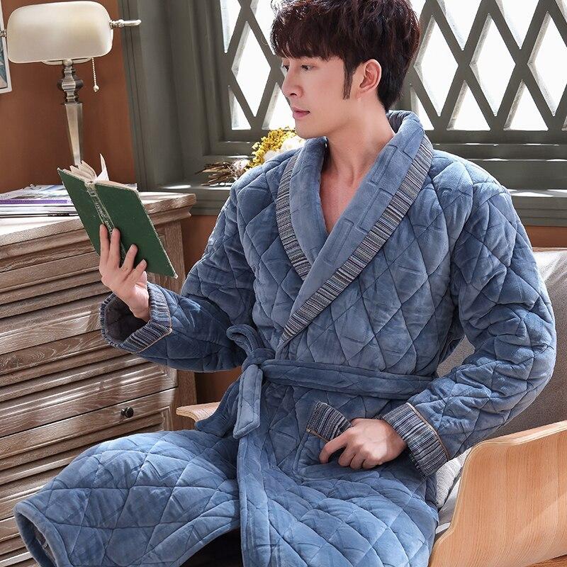 New Arrival Winter Autumn Casual Flannel Quilted Male Nightwear Men Bathrobe Belt Elegant Bathroom Spa Thick Plus Size Men Robes