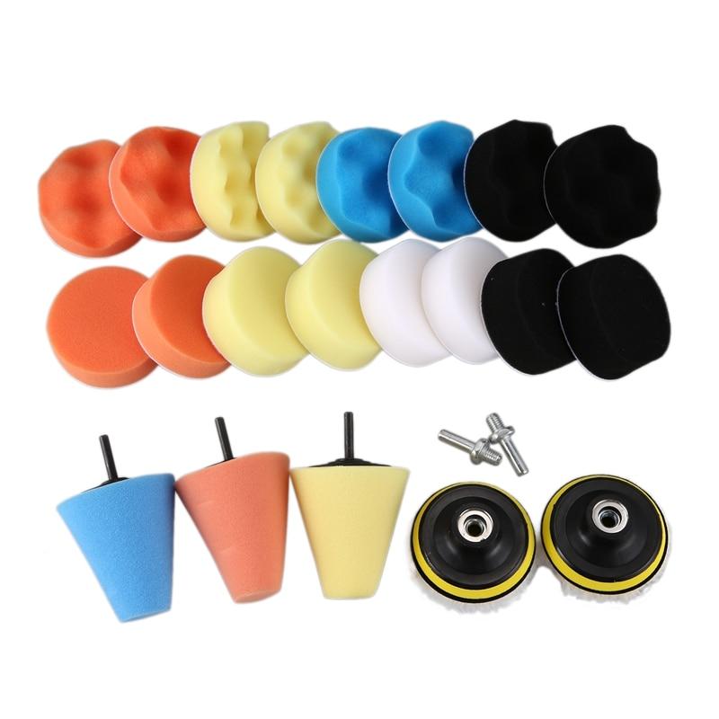 25 pcs 3 polegada onda plana polida esponja la roda carro beleza depilacao esponja bola kit