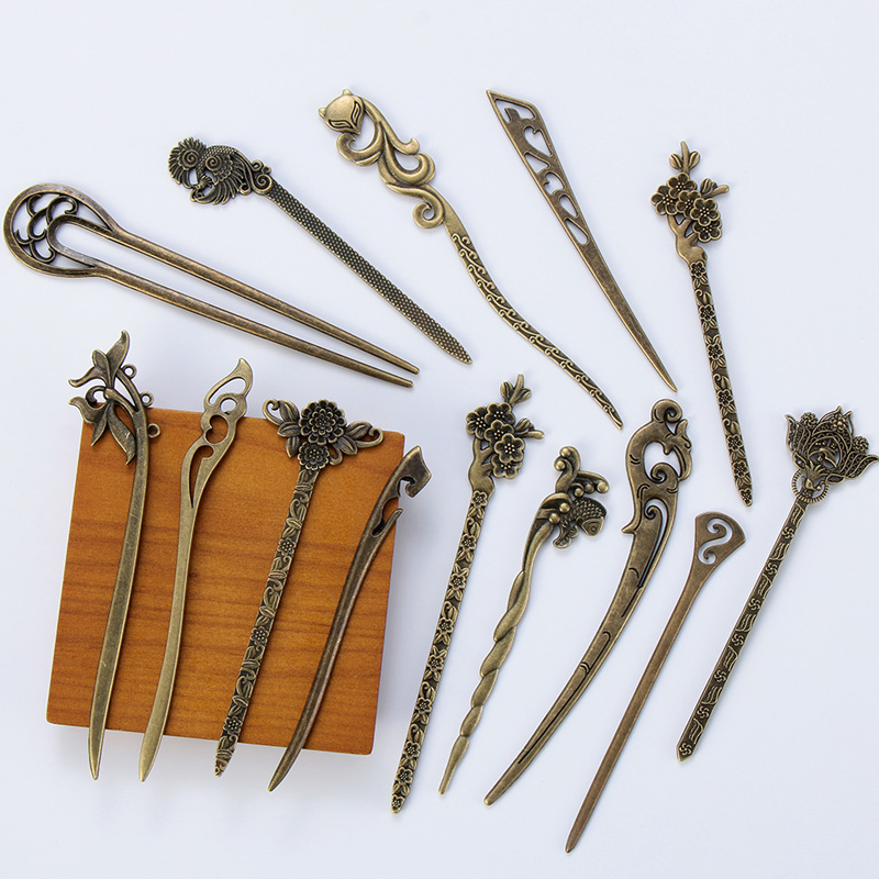 1Pc Vintage Bronze Hair Sticks Hollow Out Carved Fork Hairpin Headwear Fashion Jewelry Hair Accessories Styling Tools Dropship