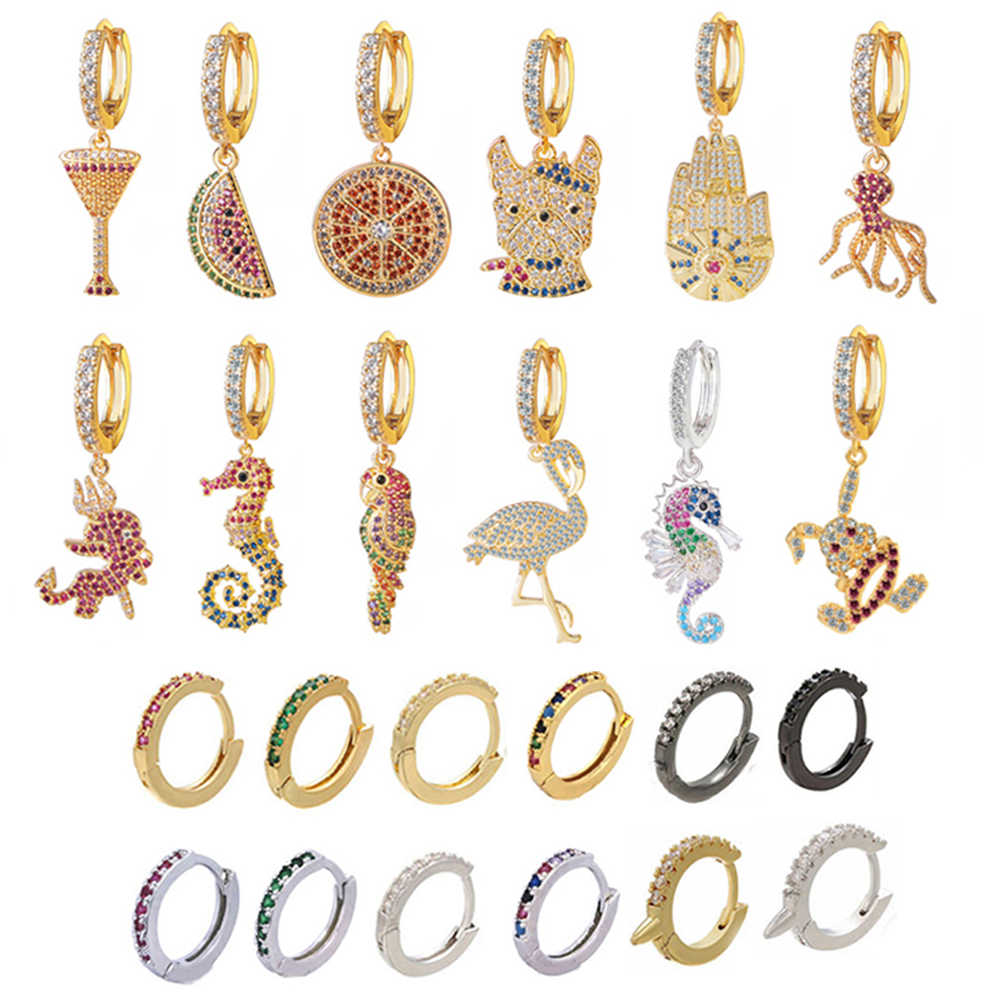 Small Hoop Earrings Women CZ Flamingo Seahorse Dog Devil Watermelon Octopus Parrot Lemon Cocktail Rainbow Jewelry Gold Color Kid